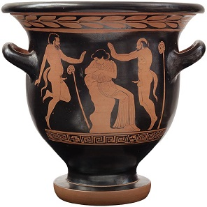 Lot #467: Magna Graecia: Lucanian Red Figure Bell Krater by the Cyclops Painter.