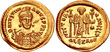 Lot 1043: Extremely Rare Alexandria Mint Solidus of Justinian I. Estimate: 50,000 USD. Realized: 85,000 USD.
