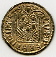 Reverse of the 'Two Emperors' type coin from the hoard carrying the name of the moneyer, 'Cuthberht'. © Portable Antiquities Scheme.