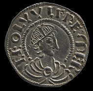 Silver pennies of the 'Two Emperors' type in the name of Alfred (moneyer Beagstan) and Ceolwulf II (moneyer Hereferth) © Trustees of the British Museum.