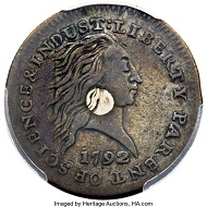 1792 Silver Center Cent.