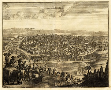 The city of Isfahan, capital of the Persian kingdom. Engraving from 1725 by P. van der Aa.
