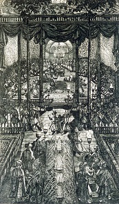Engelbert Kaempfer is being received at the Persian court. Contemporary steel engraving.