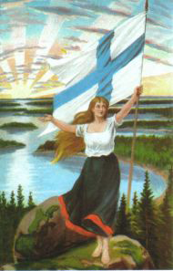 A symbol of national independence: Maiden of Finland and the blue and white flag.