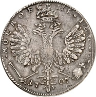 Lot 603: Russia. Peter I. Roubel 1707, Moscow, Kadashevsky Mint. Ex Hutten-Czapski Coll. (with collector's punch). Very rare. Good very fine. Estimate: 250,000,- euros. Hammer price: 290,000,- euros.