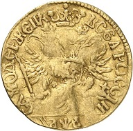 Lot 599: Russia. Peter I. Ducat 1701, Moscow, Kadashevsky Mint. Very rare. Almost very fine. Estimate: 25,000,- euros. Hammer price: 70,000,- euros.