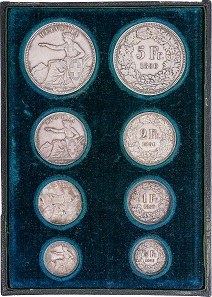 Swiss Confederation. Coin set of the first year the Swiss Franc was minted. Etui from the property of the creator of the seated Helvetia: Antoine Bovy.Photo: © Chaponnière et Firmenich SA.