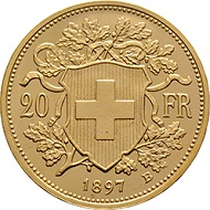 Swiss Confederation. 20 Francs pattern, 1897. The so-called