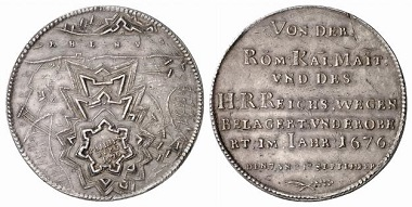 Philippsburg / Netherlands. Medal 1676. The reverse shows the later development of the idea of a hornwork. From Baums Collection, Künker sale 116 (2006), No. 4609.