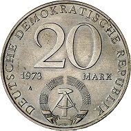 Lot 3373: GDR. 20 marks 1973 A (1979). Motif-PATTERN. One side of J. 1573 ('30 Jahre DDR'), the other side of J. 1548 ('20 Mark Grotewohl'). Extremely rare. Almost mint state. Estimate: 2,500,- euros. Hammer price: 4,200,- euros.