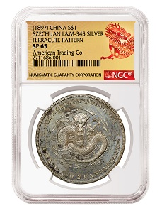 China (1897) Silver Dollar Szechuan L&M-345 Ferracute Pattern with the NGC ACAB Red Dragon Label NGC SP 65.
