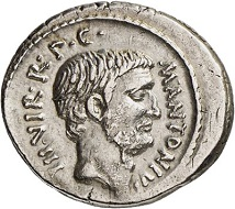 Lot 321: Roman Republic. Marc Antony. Denarius, 42. Cr. 494/17. From Hannelore Scheiner Coll. Very fine to extremely fine. Estimate: 2,000,- euros. Hammer price: 18,000,- euros.