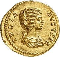 Lot 675: Septimius Severus, 193-211, with his wife Julia Domna. Aureus, 200/201. Very rare. Extremely fine. Estimate: 15,000,- euros. Hammer price: 48,000,- euros.