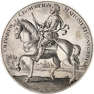 Lot 1605: Great Britain. Oliver Cromwell, 1653-1658. Satirical silver medal no date, unsigned. From Murdoch Coll., Sotheby's sale, London 1904, No. 991. Extremely rare. Extremely fine. Estimate: 1,000,- euros. Hammer price: 18,000,- euros.