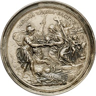Lot 1934: Malta. António Manoel de Vilhena, 1722-1736. Cast bronze medal 1729 by Benzi on the Pope presenting a blessed sword and a helmet. Cast of the time. Very fine. Estimate: 500,- euros. Hammer price: 12,000,- euros.