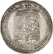 Lot 3109: Braunschweig-Harburg. Reichstaler 1665 on the death of Katharina Sophia, last descendant of the House of Harburg. Reichstaler 1665, presumably Kassel. Extremely rare. Extremely fine. Estimate: 7,500,- euros. Hammer price: 30,000,- euros.