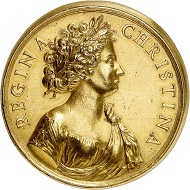 Lot 5172: Sweden. Christina, 1632-1654. Gold medal of 40 ducats no date (around 1685), unsigned (by Giovanni Battista Guglielmada). From the actor and director Sascha Guitry Collection, Bourgey sale (1963), No. 137. Extremely rare. Extremely fine. Estimate: 50,000,- euros. Hammer price: 75,000,- euros.