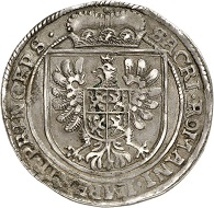 Lot 6849: Albrecht von Wallenstein, 1623-1634. Duke of Friedland. Reichstaler 1628, Gitschin. Extremely rare variant. Good very fine. Estimate: 20,000,- euros. Hammer price: 32,000,- euros.
