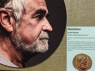 Recreation of a portrait bust of Diocletian next to an image of the coin that inspired it. Photo: Henry Flynn.