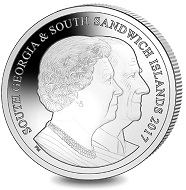 South Georgia & The South Sandwich Islands. Platinum Set: 70 Years of HM Queen Elizabeth II & HRH Prince Philip - The Queen at her 90th Birthday / Platinum / 28.00 g / 6.22 mm / Mintage: 650.