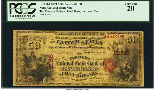 San Jose, CA. $50 Original National Gold Bank Note Fr. 1161 The Farmers National Gold Bank Ch.