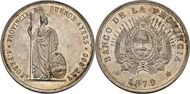 Lot 1014: Argentina. Province of Buenos Aires. Trial-peso 1879. Extremely fine / proof-like. Estimate: 2,000 EUR. Hammer price: 13,500 EUR.