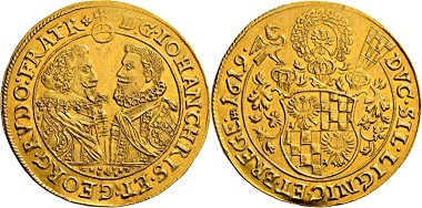 Lot 2069: Germany. Duchy Liegnitz-Brieg. John Christian and Georg Rudolph, 1602-1621. 5 ducats 1619, Reichenstein. Extremely fine. Estimate: 10,000 EUR. Hammer price: 26,000 EUR.