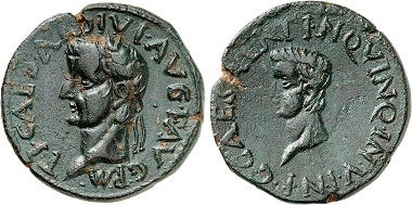 Cartagena. Tiberius, 14-37. With Caligula. AE. From Gorny & Mosch auction sale 245 (2017), No. 1405.