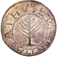 1652 SHILNG Pine Tree Shilling, Large Planchet, No Pellets at Trunk, MS65 PCGS.