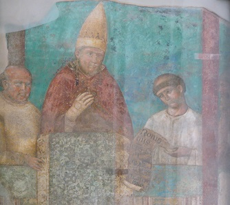 Bonifatius III proclaims the first holy year. Contemporary depiction of Giotto from the Archbasilica of St. John Lateran.