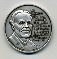 The obverse of the new AINA medal shows a portrait of Arthur James Balfour.