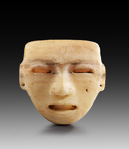 Lot 591: Stone mask. Teotihuacan, AD 100-650. H 20 cm. W 18.5 cm. Alabaster. From the Prof. Dr. Günther Marschall Collection, Hamburg. Acquired 1967-1975. Four drilled suspension holes, small hole in right check, otherwise intact. Estimate: 3,000,- euros. Hammer price: 14,000 euros.