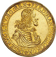 294 / Lot 3410: Ferdinand III, 1625-1637-1657. 10 ducats 1656, Vienna. Extremely rare. Extremely fine to FDC. Estimate: 100,000,- euros. Hammer price: 105,000,- euros.