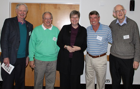 Satisfied hosts and speakers. From left to right: David Baird, Jim Duncan, Ursula Kampmann, John Harwood, David Galt. Photo: NSA.