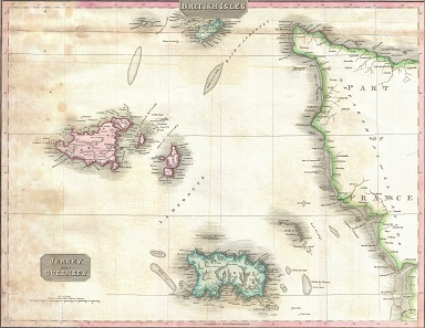 The islands of Jersey and Guernsey in an 1818 map by J. Pinkerton. Source: Wikipedia.