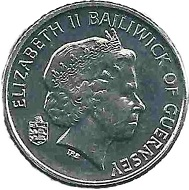 A sailboat on the reverse of the 5-pence-piece recalls how important seafaring and tourism was for the Channel Island.