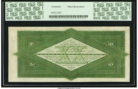 United States. Fr. 197a $20 1863 Interest Bearing Note PCGS Very Fine 35. Realized: 64,625 USD.