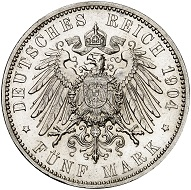 Lot 5553: Bremen. 5 marks 1904. Extremely rare. Almost FDC from Proof. Estimate: 35,000,- euros.