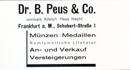Advertisement of Adolph Hess Nachf. under a new name.