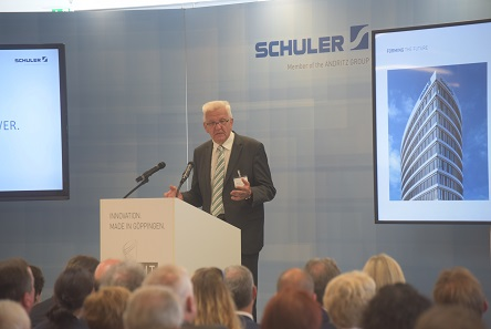 Baden-Württemberg's Minister President Winfried Kretschmann at the official opening of the new Schuler headquarters.