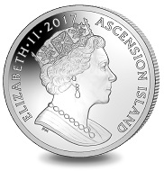 Ascension Island / 1 Crown / Silver .999 and Mother of Pearl / 33g / 38,6mm / Mintage: 2017.