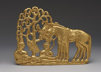 A gold belt plaque of a Scythian funerary scene. Gold; 4th – 3rd century BC. Siberian Collection of Peter the Great. © The State Hermitage Museum, St Petersburg, 2017. Photo: V Terebenin.