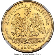 Mexico. Republic gold 20 Pesos 1900 Mo-M MS65+ NGC. Realized: 38,400 USD.
