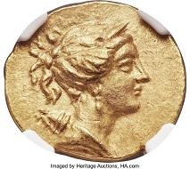 IONIA. Ephesus. Ca. 133-88 BC. AV stater (20mm, 8.43 gm, 12h). NGC MS 5/5-3/5. Realized: 18,000 USD.