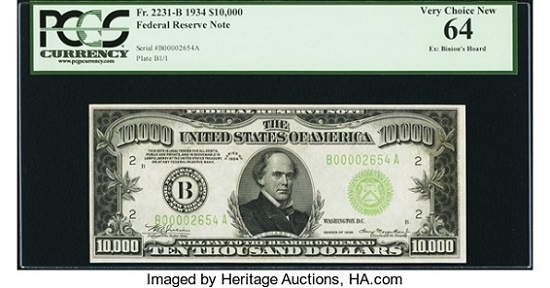 Fr. 2231-B $10,000 1934 Federal Reserve Note. PCGS Very Choice New 64. Realized: 144,000 USD.