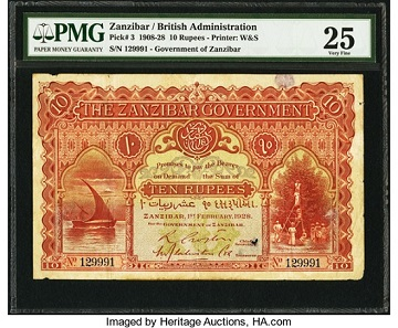 Zanzibar Government 10 Rupees 1.2.1928 Pick 3. Realized: 72,000 USD.