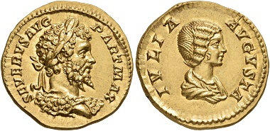 Lot 244: Septimius Severus, 193-211. Aureus, Rome, 201. Virtually as struck. Estimate: 30,000 CHF.