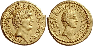Lot 33: Marcus Antonius and C. Caesar Octavianus with M. Barbatius. Aureus, mint moving with M. Antonius 41, 8.02 g.