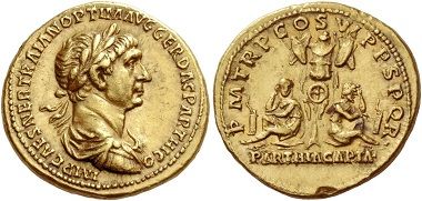 Lot 253: Trajan 98-117. Aureus after 20 February – circa Autumn 116, AV 7.37 g.