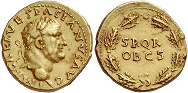 Lot 504: Aureus of Vespasian, Antiochia 70, AV 7.78 g. I.